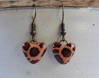 Leopard print heart earrings, Animal print jewellery, Ladies Valentine's gift