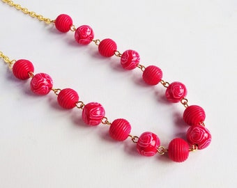 Red rose necklace, Red and white bead necklace, Bright red and gold jewellery
