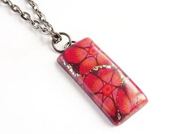 Red flower necklace, Dark pink and orange pendant necklace, Rectangle floral pendant, Red floral jewellery