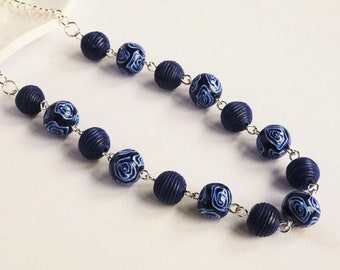 Navy blue and white necklace, Dark blue rose pattern necklace, Floral necklace