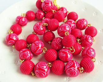 Long red bead necklace, Red rose necklace, Bright red and gold chain, Red and white floral beaded necklace