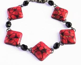 Red flower bracelet , Dark pink and orange bracelet, Square floral bracelet, Red floral jewellery