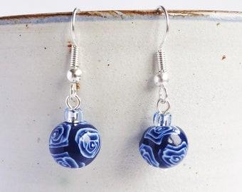 Blue and white earrings, Rose pattern earrings, Navy blue dangly earrings, Floral jewellery