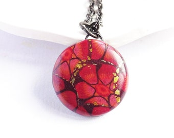 Dark red flower necklace, Burgundy pendant necklace, Round floral pendant, Red floral jewellery