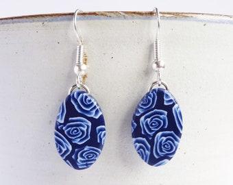 Blue and white oval earrings, Rose pattern earrings,  Navy blue dangly earrings, Floral jewellery