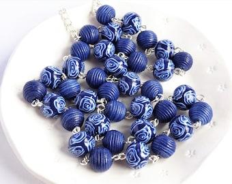 Long navy blue bead necklace, Dark blue rose necklace, Blue and white necklace, Floral beaded necklace