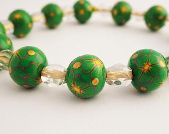 Green and yellow bead bracelet, Bright flower bracelet, Elasticated bracelet