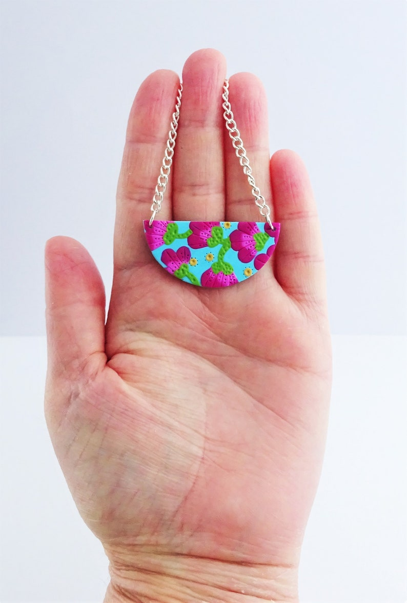 Floral bib necklace Turquoise and fuschia  semi circle necklace