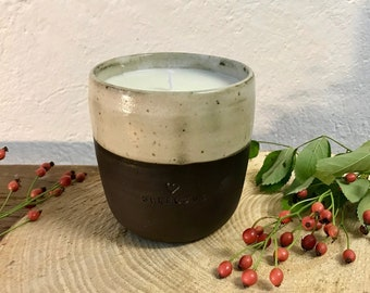Soy Wax SELFLOVE Candle Decoration Ceramic Mug with Heart // Ceramic Candle Mug Gift Mug Love with Soy Candle Filling PotsofSoul Design