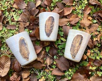 1 ceramic cup feather / feather cup / ceramic cup nature bird / ceramic cup bird feather in white beige hanturned by Pots of Soul