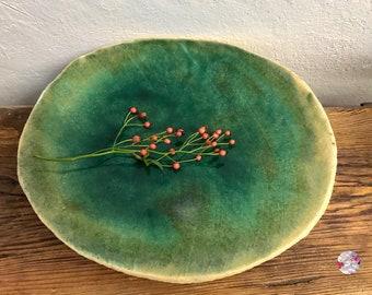 Extra large flat XL Alpsee water bowl ceramic design sandstone decoration // natural mirror // bird troughs bird bath sea lagoon turquoise blue ocean