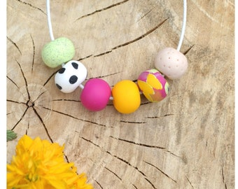 Spring beaded polymer clay necklace - yellow sun