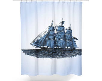 Sail Away Vintage Ship Shower Curtain Blue Sailing Nautical Bathroom Decor
