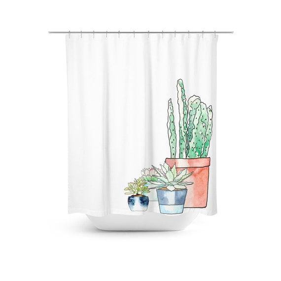Cactus Garden Shower Curtain Succulents