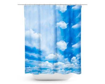 Blue Skies Photo Shower Curtain, Clouds Photo Shower Curtain, Photo Bathroom Decor, Sky Photo Bathroom Decor