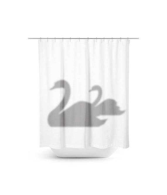 Swans Silhouette Shower Curtain Swan Shadow