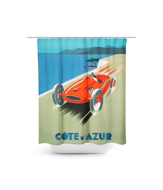 Vintage Race Car Shower Curtain Advertising Poster