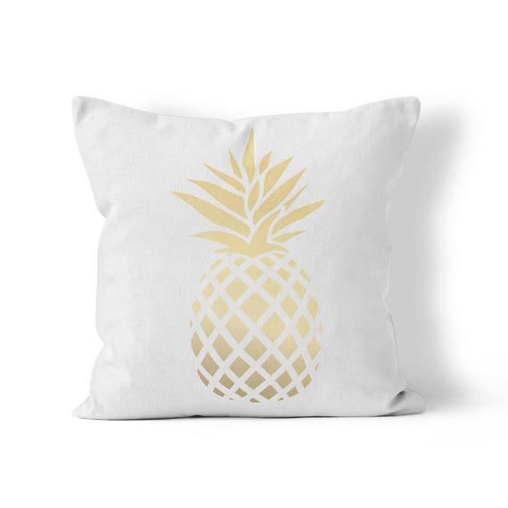 Golden Pineapple Outdoor Throw Pillow Etsy