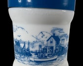 Vintage Milk Glass Tobacco Canister Jar with Blue Plastic Lid.