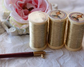 Gold-Sajou Metallic Thread- Metallic sewing thread- Fil Au Chinois