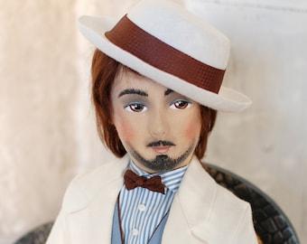 Boudoir doll Daniel   Interior Collectible dolls   Felt doll   Boudoir dolls vintage   Art dolls   Felt boudoir doll men   1920's dolls