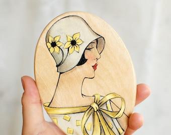 Handheld mirror wood gift   Mirror 1920s style   Boudoir mirror   Makeup Mirror   Wooden hand mirror   Vintage hand mirror   Gift for Women