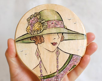Gift for Her   Wooden hand mirror   Beautiful handmade mirror  Makeup Mirror   Flapper mirror   Gift for Women   Boudoir mirror 1920s style