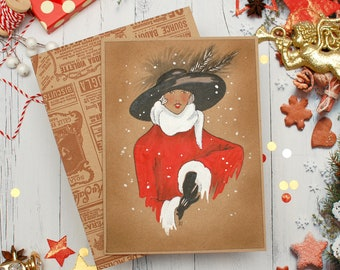 Christmas Card   Vintage christmas cards   Drawing Christmas card   Happy new year card   Holiday postcard   Card 1920s style   Flapper gift