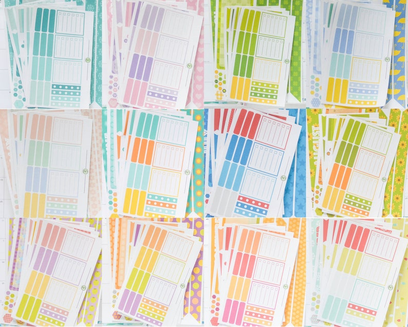 Colorful Hourly 12 month and week Kit Bundle Erin Condren Lifeplanner Planner Stickers updated for 2020 layout