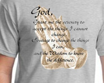 Religious Christian The Serenity Prayer God Grant Me The Serenity Courage Wisdom Cross Mens Cotton T Shirt Sizes Small-4XL Short  Sleeve