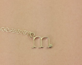 986ebfde8 Real Diamond and Sterling Silver Lowercase Initial necklace. Super cute and  delicate 100% Real Diamond all Sterling necklace.