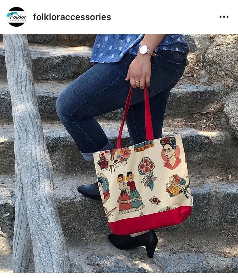 Frida Autoretrato Tote bag red