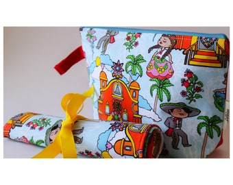 folklorico Pueblito cosmetic bag and brushroll