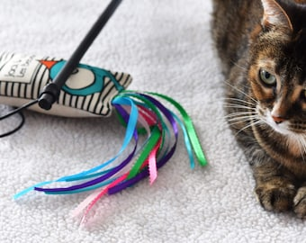 Interactive cat toy with ribbons and stick. Toy made completely by hand. Ultra-stimulate toys for cat.