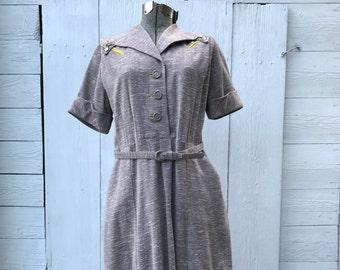 1950s Dress | An Ambassadors Original | Vintage Grey Dress | Size Small-Medium