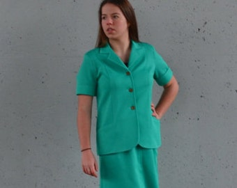 10 Dollar Sale | 1970s work suit | skirt and blazer | teal powersuit | Size m