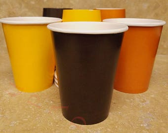 Fall Themed Paper Party Cups. Ships In 2-3 Business Days. 12 Ct.