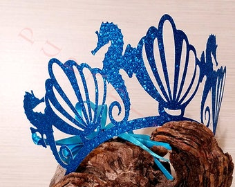 Sea Queen Paper Party Crowns.  Handcrafted In 2-3 Business Days. 6 Ct. Mermaid Party Crowns. Under The Sea Party Idea
