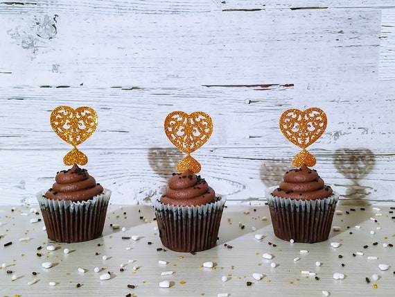 12 Blue Glitter Heart Cupcake Toppers Handcrafted In 2-3 Business Days Baby Shower Cupcake Toppers