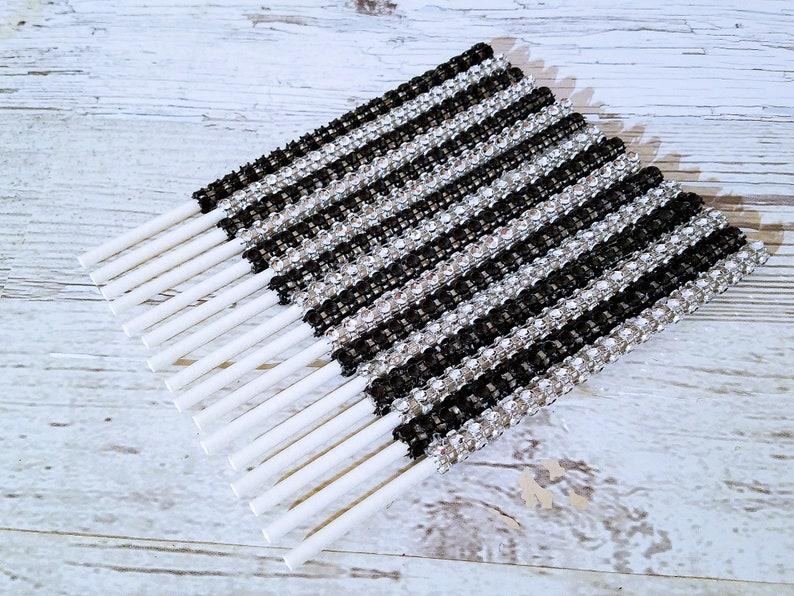 25 Black And Silver Elegant Bling Diamond Wrap Cake Pop Sticks Handcrafted In 2-3 Business Days Bling Cake Pop Sticks