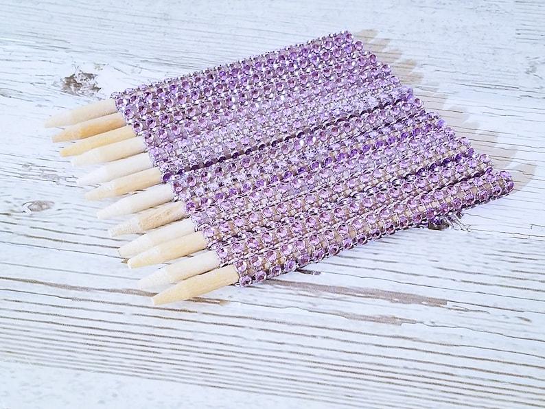 25 Lavender Diamond Wrap Candy Apple Sticks