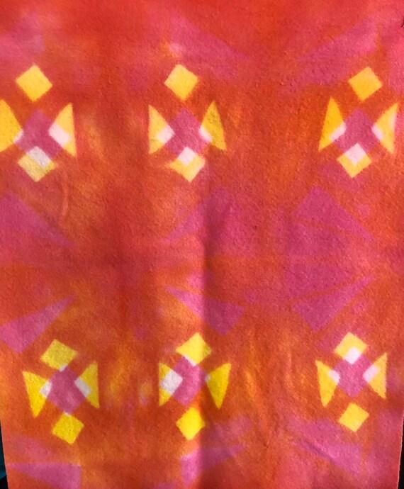 Itajime Shibori Wool Fabric Pink Orange and Yellow