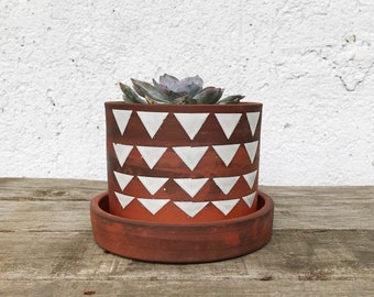 Modern Terracotta Pot | Contemporary Succulent Pot | Terracotta Pot with Drainage Tray