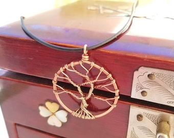 Handmade copper wire wrapped tree of life pendant for necklace, gift, or decoration