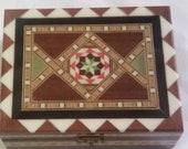 Vintage Marquetry Inlaid Wood Jewelry Box Grenada Spain Brown Green Red Inlays Veneers