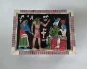 Egyptian Osiris Isis Wedding Box Mother of Pearl Wood Marquetry Inlay Cairo Egypt Hand Made