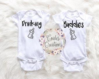 b1095820 Twins onesies//Drinking Buddies//matching bodysuits//humor onesie//baby  shower gift//twin humor//