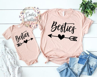 93252595 Mother Daughter Outfits//Besties//new baby outfit//matching mom daughter//baby  shower gift//bella canvas tops