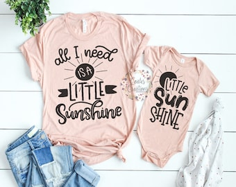 15c802172e3b5c Mother Daughter Outfits//you are my sunshine//new baby outfit//matching mom  daughter//baby shower gift//bella canvas tops