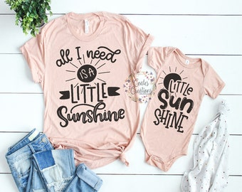997914582f50 Mother Daughter Outfits//you are my sunshine//new baby outfit//matching mom  daughter//baby shower gift//bella canvas tops